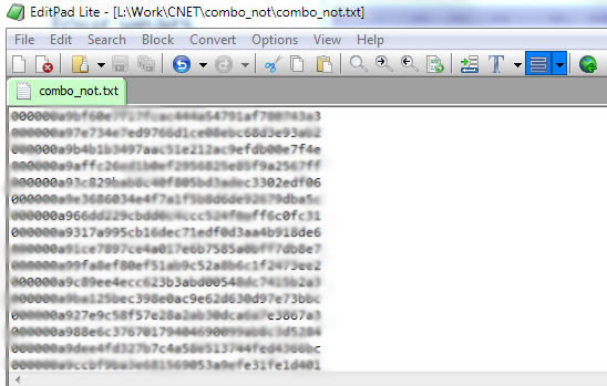 The reported list of leaked hashed LinkedIn passwords.