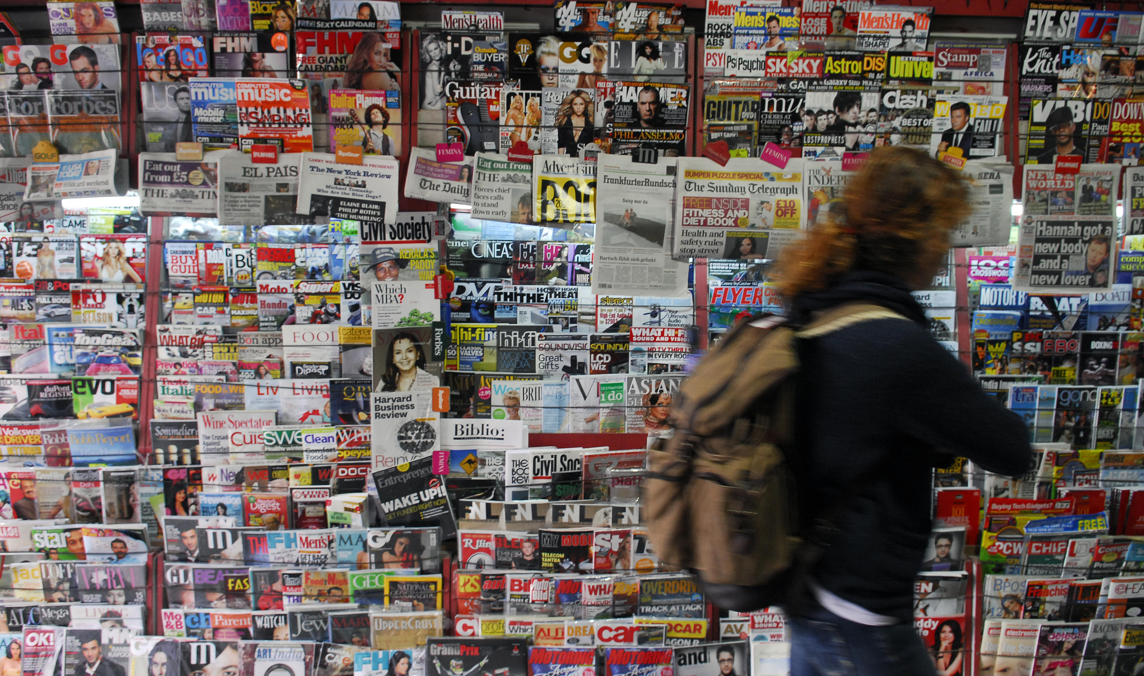 Newspapers, Magazines on display At Newsstand