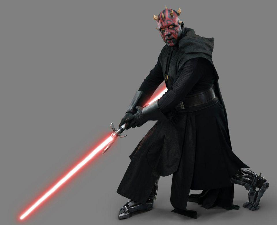Maul is seen only as a hologram in the movie, but Lucasfilm released some photos that show off his look.