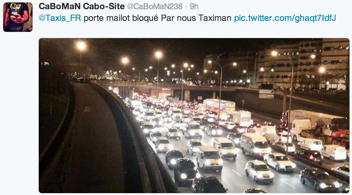 Taxis protesting Internet-era car services like Uber and SnapCar blocked this onramp to the Boulevard Peripherique, a heavily used road circling Paris.
