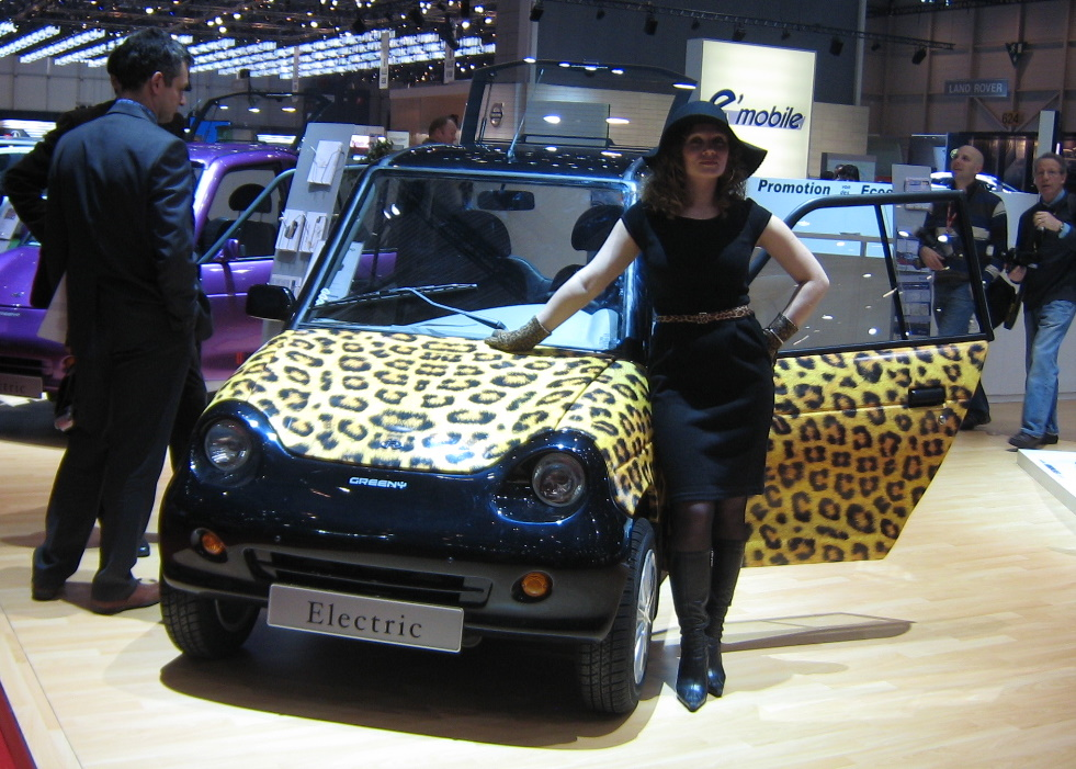 The Greeny is an electric city car, shown here in leopard print.