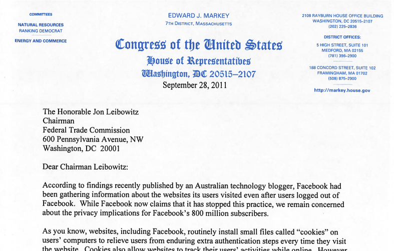 Lawmaker letter to the FTC complains about Facebook tracking users after they log out.