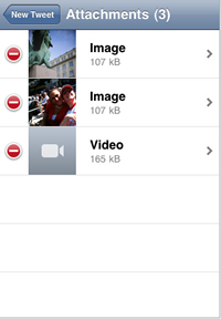 You can attach photos and videos to your tweets through Tweetie.