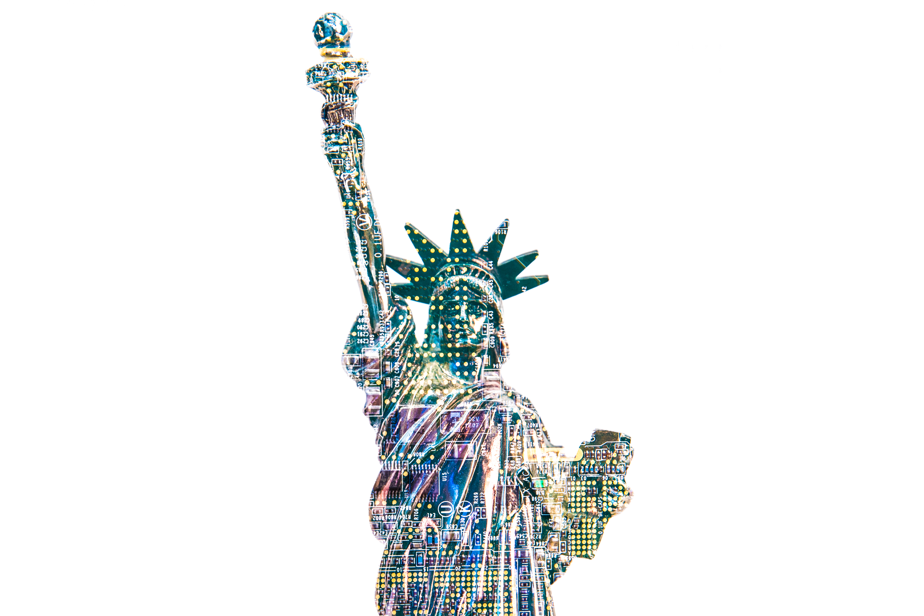 Illustration of the Statue of Liberty superimposed over a circuitboard. US Customs and Border Patrol updated its guidelines on searching phones and computers at the border -- searches it conducted more than 30,000 times in 2017.