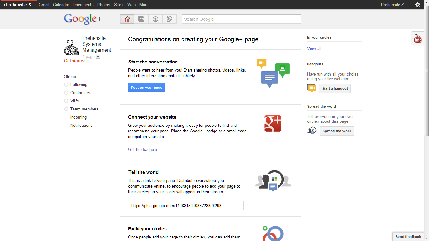 Step 6: New G+ page.