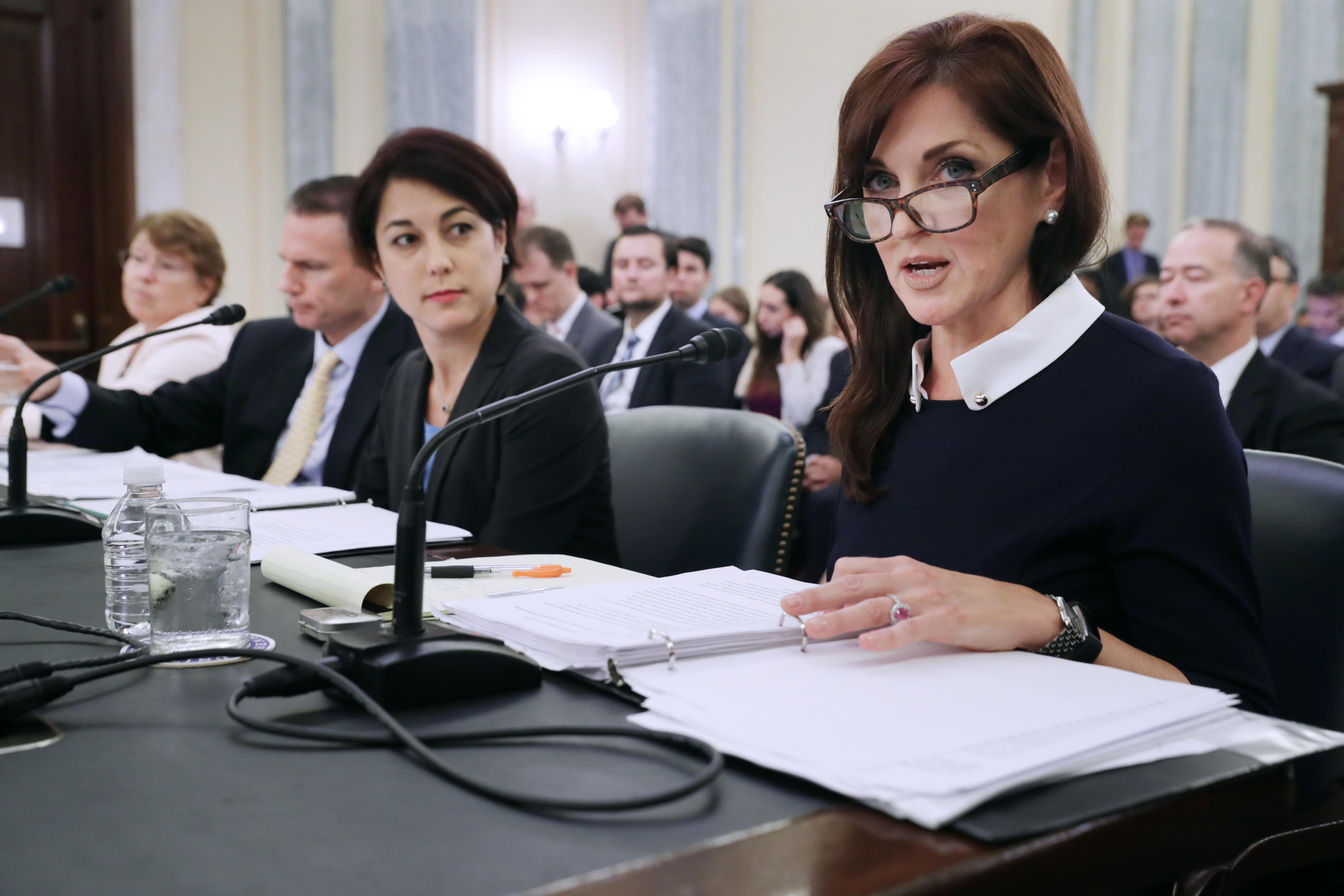 Center for Democracy & Technology CEO Nuala O'Connor, right, testifies Wednesday before the Senate Commerce, Science and Transportation Committee about consumer data privacy.