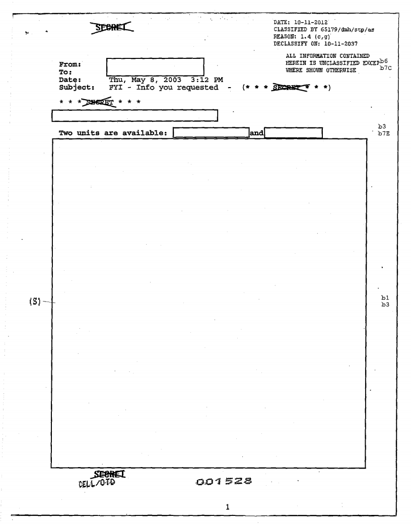 The FBI has not disclosed details about its stingray devices. In response to an open records request from the Electronic Privacy Information Center, the bureau declassified this previously SECRET document but completely redacted it.