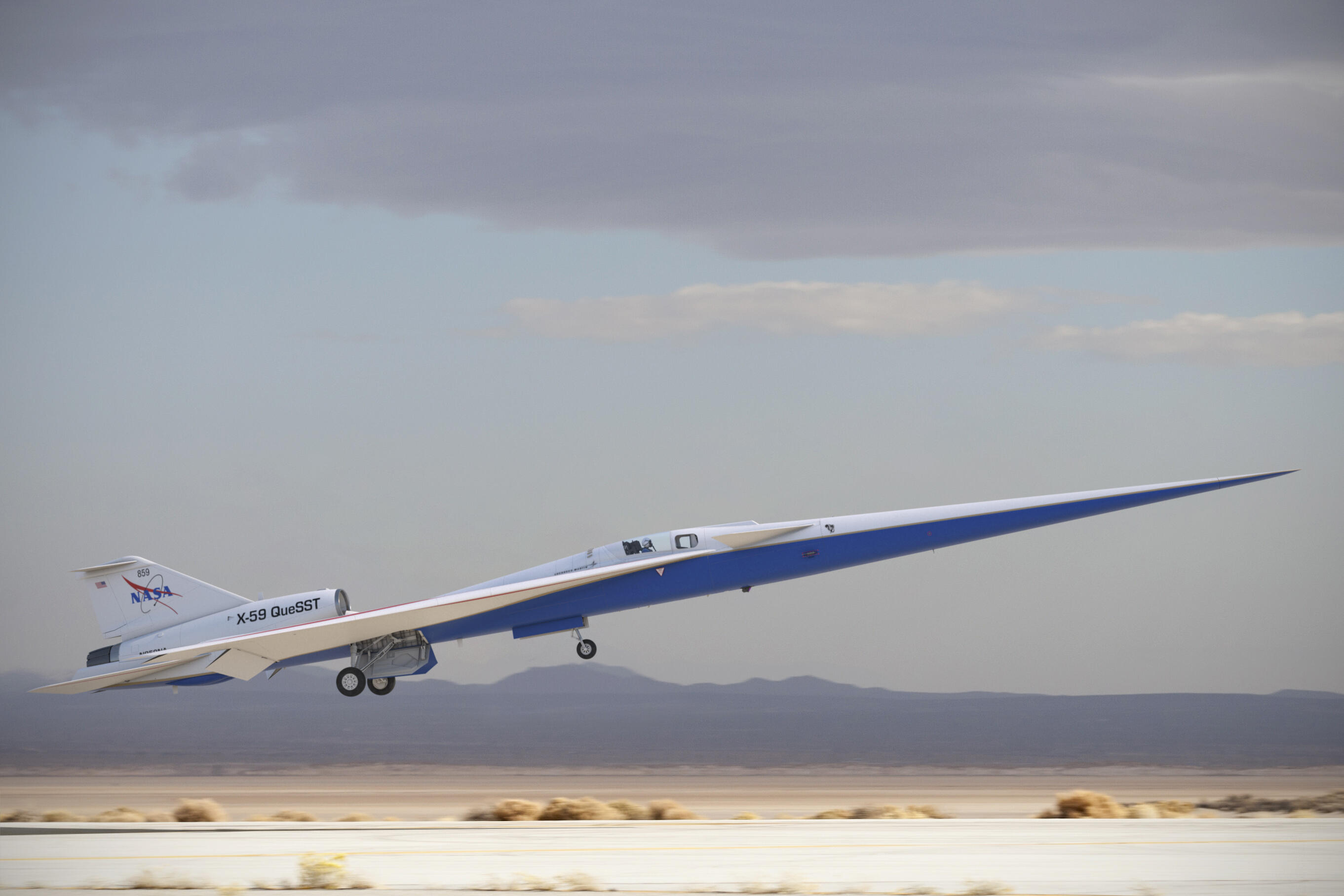 A mock-up of the X-59 aircraft taking off