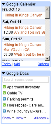 New Gmail Labs features bring Google Calendar and Google Docs views.