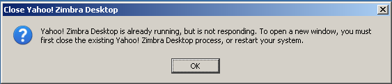 There's still work to be done getting Zimbra to run as a standalone application. This is the error message that I got after complications minimizing the application.