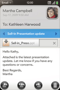 Palm's Email Client feels like a desktop email client.