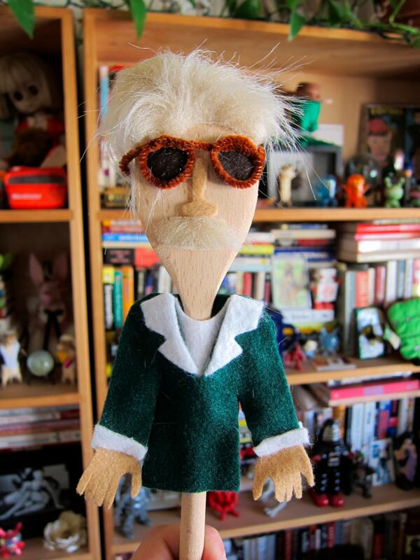 A homemade Stan Lee spoon puppet