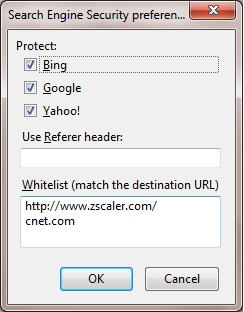 Zscaler Search Engine Security Options dialog box