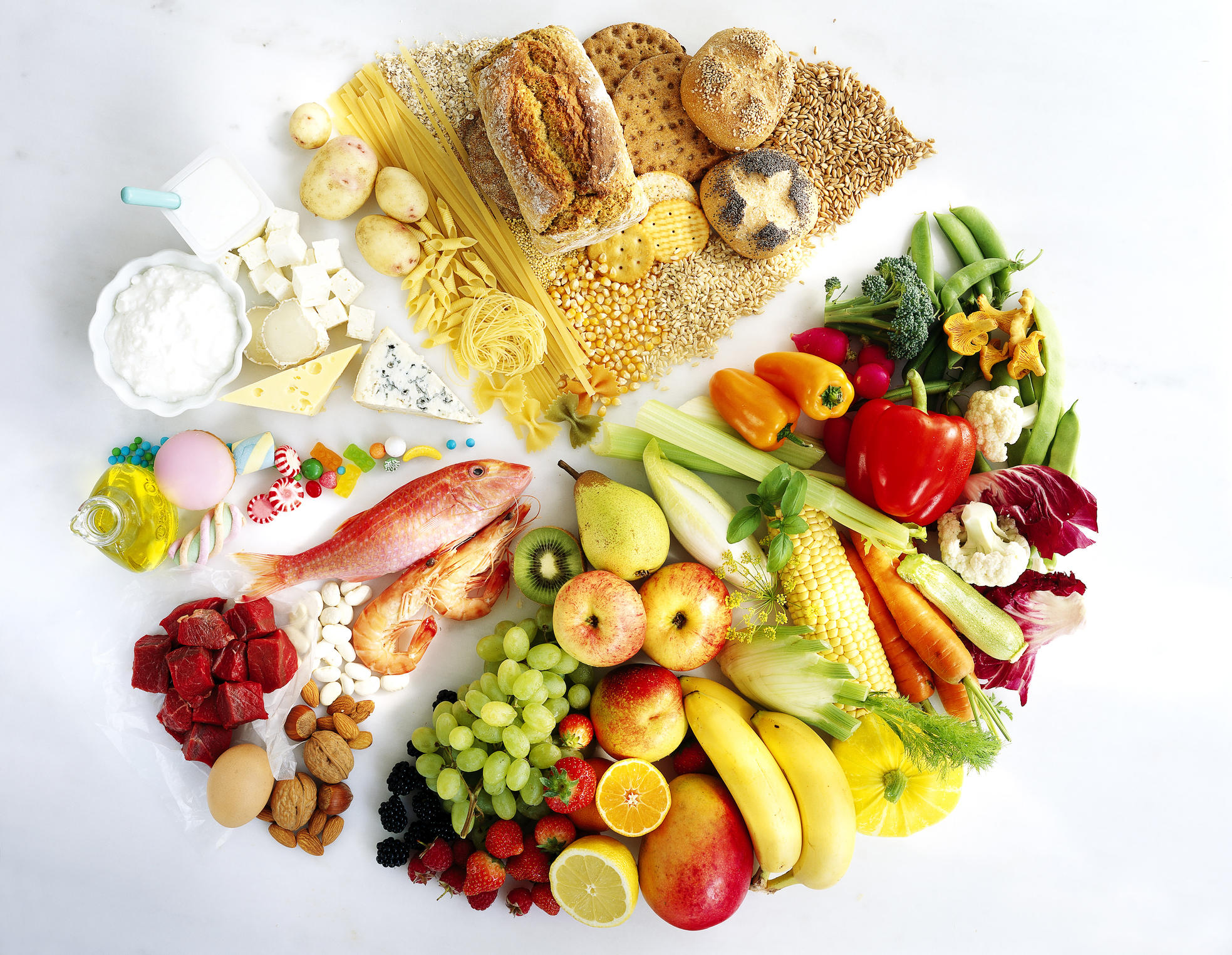 Foods for a balanced diet - showing proportions