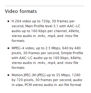 Apple TV's video specifications