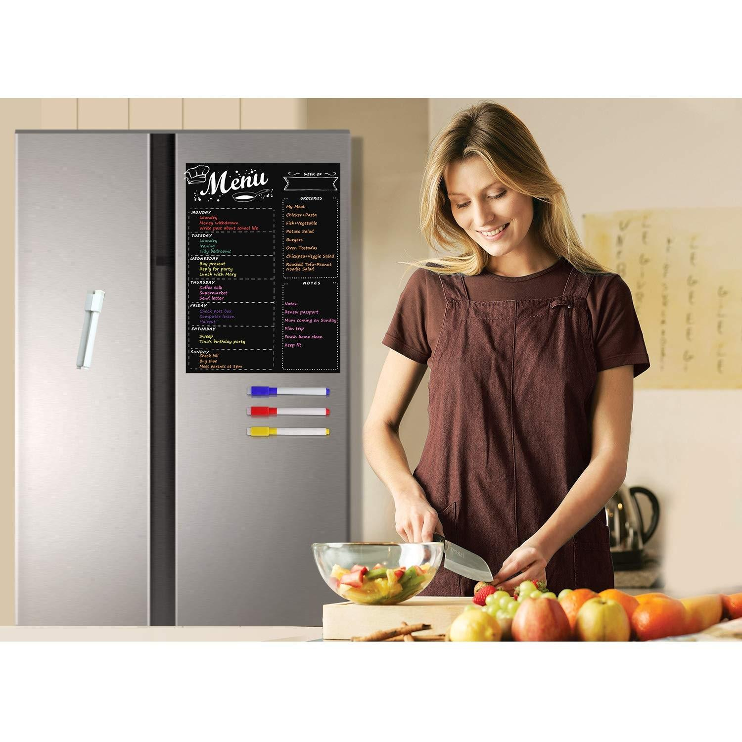 magnetic fridge menu board with dry erase markers