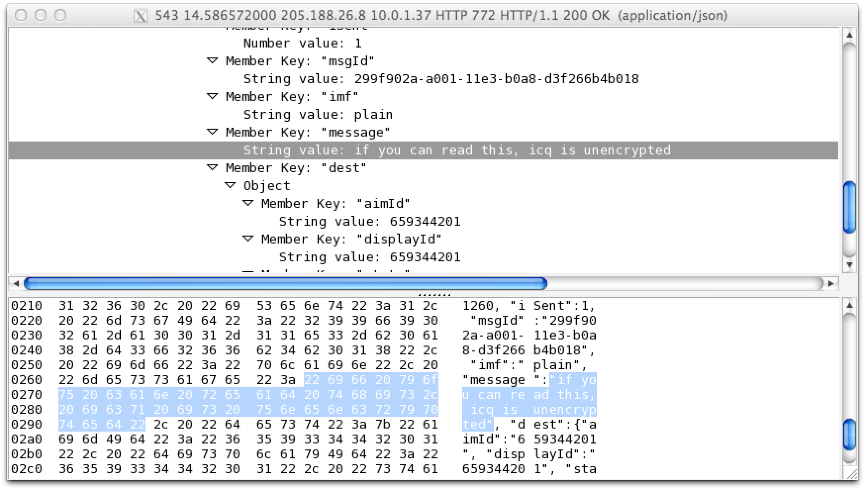 ICQ messages were also unencrypted, as you can see in the above screen capture from the Wireshark packet analyzer. AOL's AIM client leaked metadata about who's talking to whom.