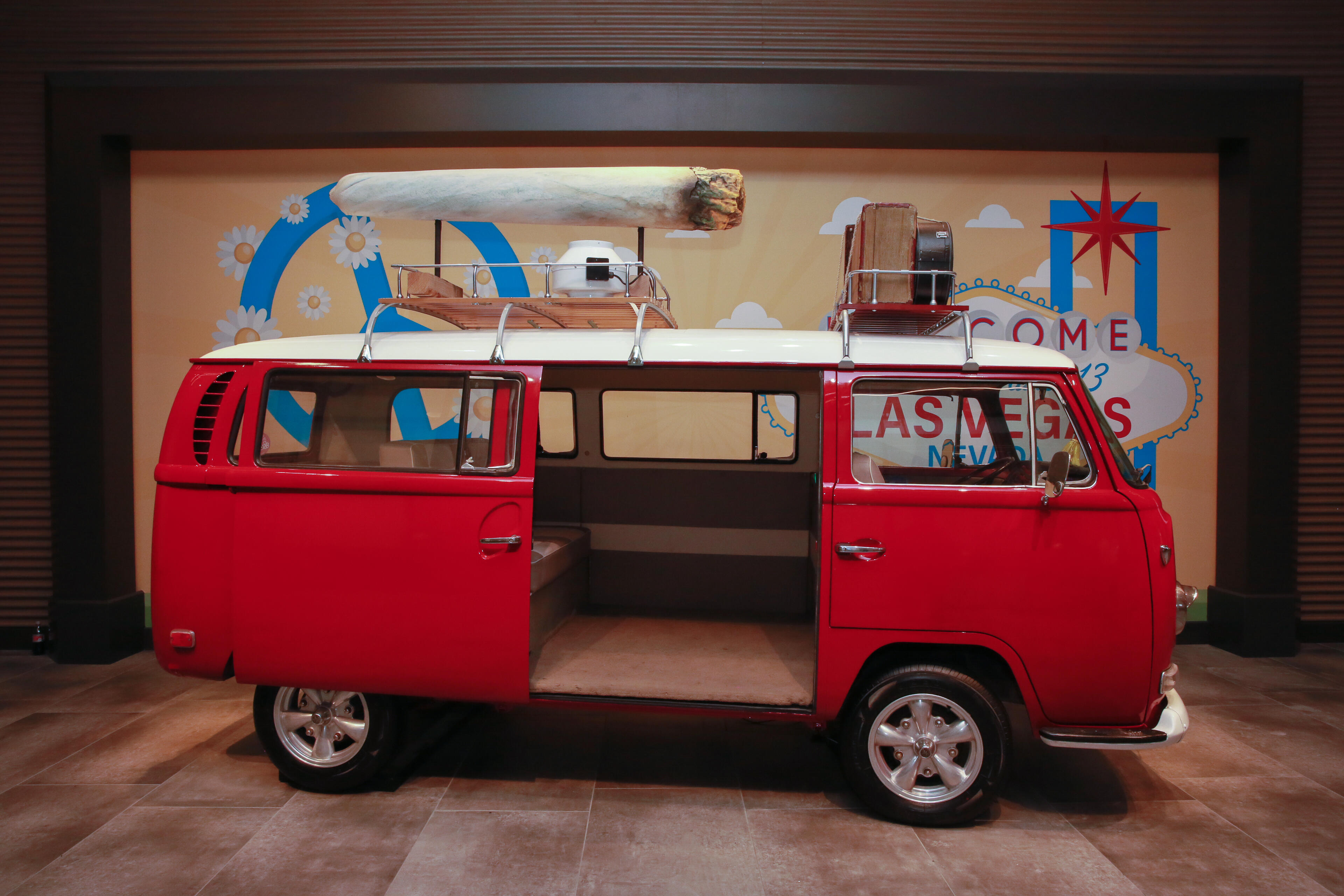 This old VW van is a photo-op that seems to have gone awry. People pressed a button to make it look smoke-filled for their selfies. But they did it so much that the whole lobby area would get hazy.