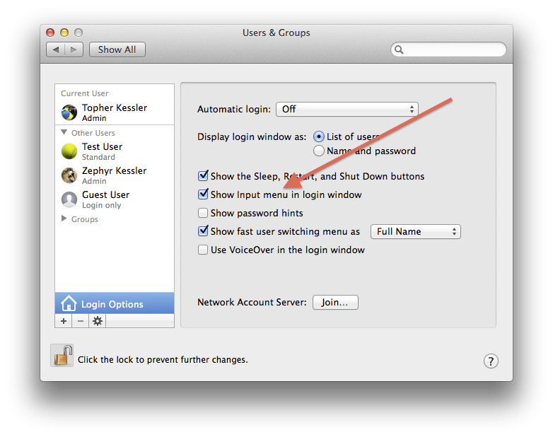 Users & Groups System Preferences in OS X