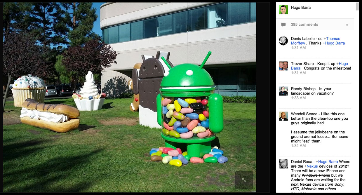 Hugo Bara, Android's director of product management, said the Jelly Bean statue is back on Google's lawn as he announced 500 million device activations.