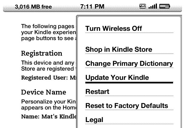 How to change the Amazon Kindle's screensaver: update Kindle button