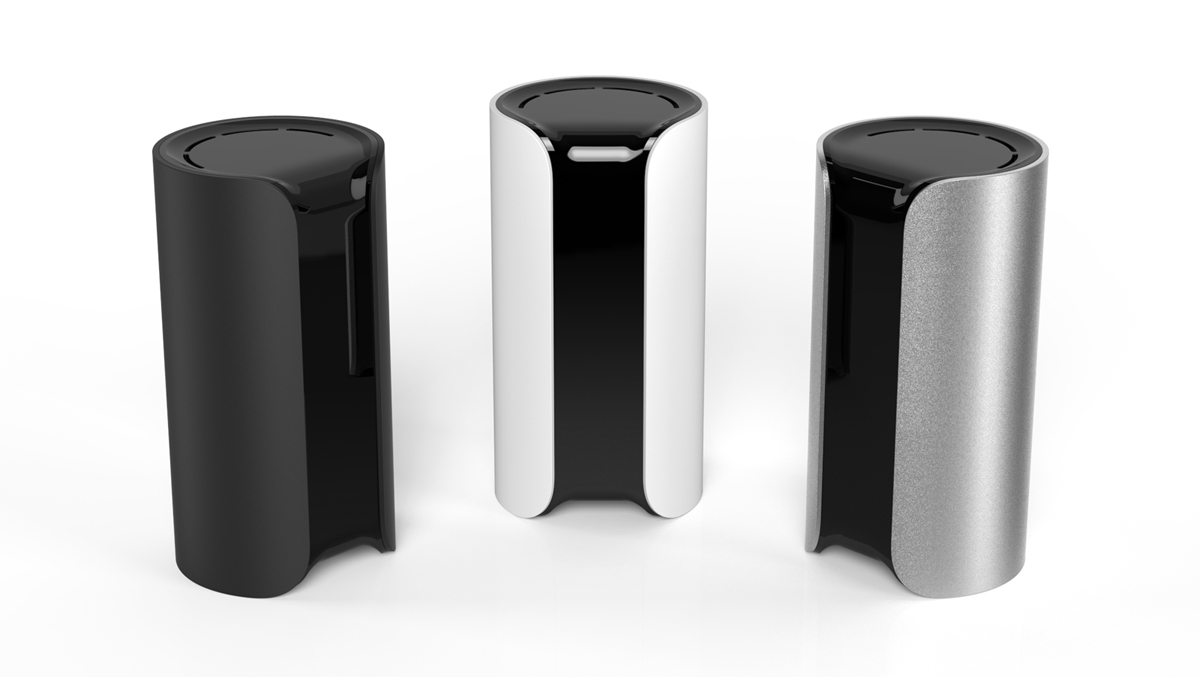 Canary's cylindrical networked home-security devices are designed to be easier to use than traditional alternatives. The devices send notifications to a smartphone if data from the camera, accelerometer, thermometer, or microphone indicates something is amiss.