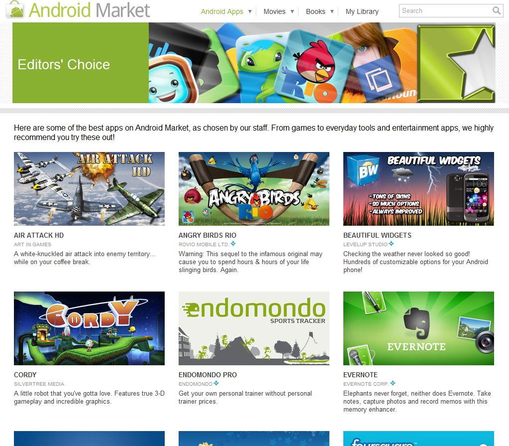 Android Market Editor's Choice page