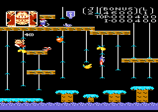 Dodge snapjaws, swooping purple birds, and electric sparks to help Donkey Kong, Jr. free his imprisoned father.