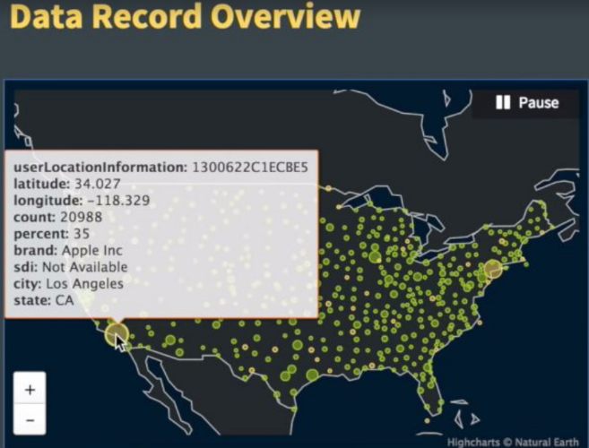 Cybereason screenshot showing real-time geolocation sites in the US.
