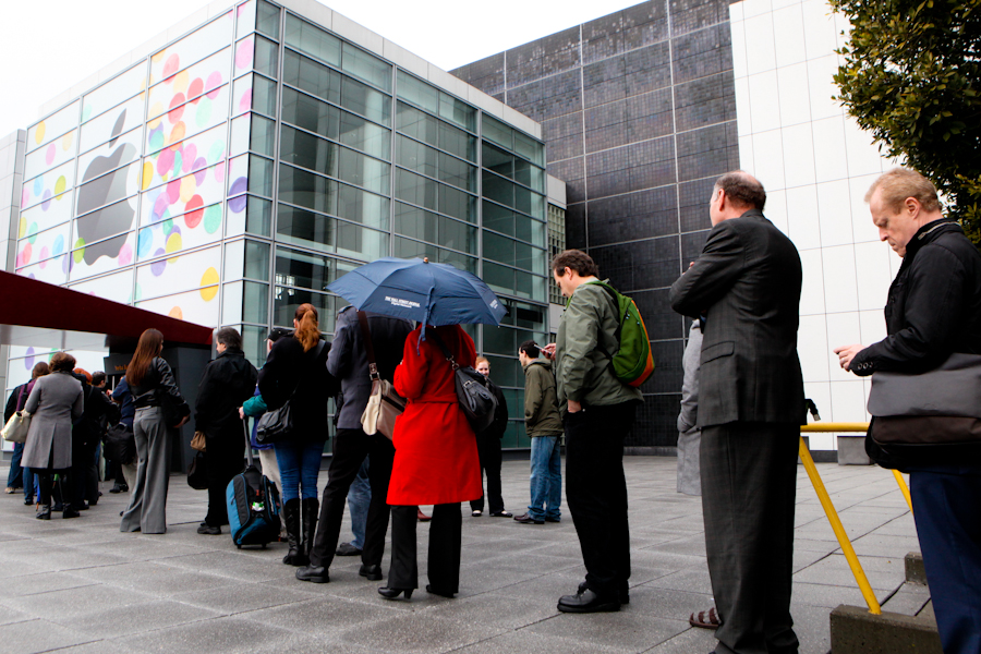 Lining up outside Yerba Buena Center for the Arts in San Francisco this morning.