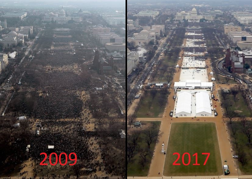 A comparison of the two most recent inaugurations crowds.