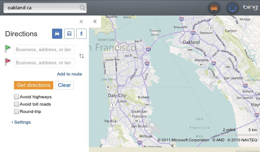 PlayBook Bing Maps