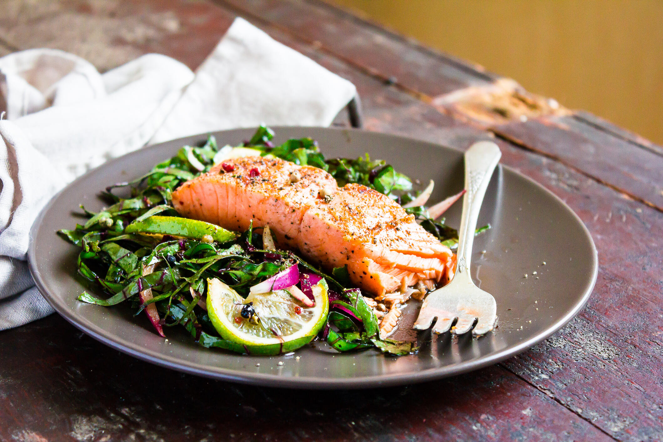 salmon on top of salad vitamin D food sources