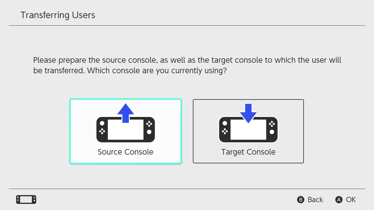 Source/target console data transfer