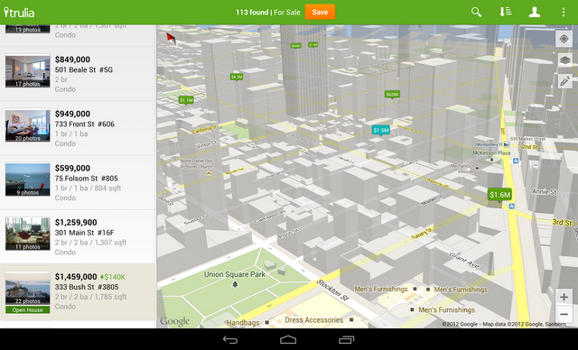 Users can search for housing in 3D using the updated Maps API in the Trulia app.