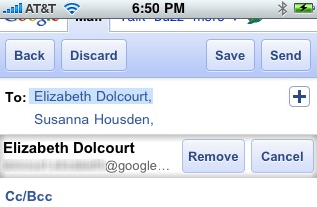 Gmail.com compose window on iPhone, iPad, Android