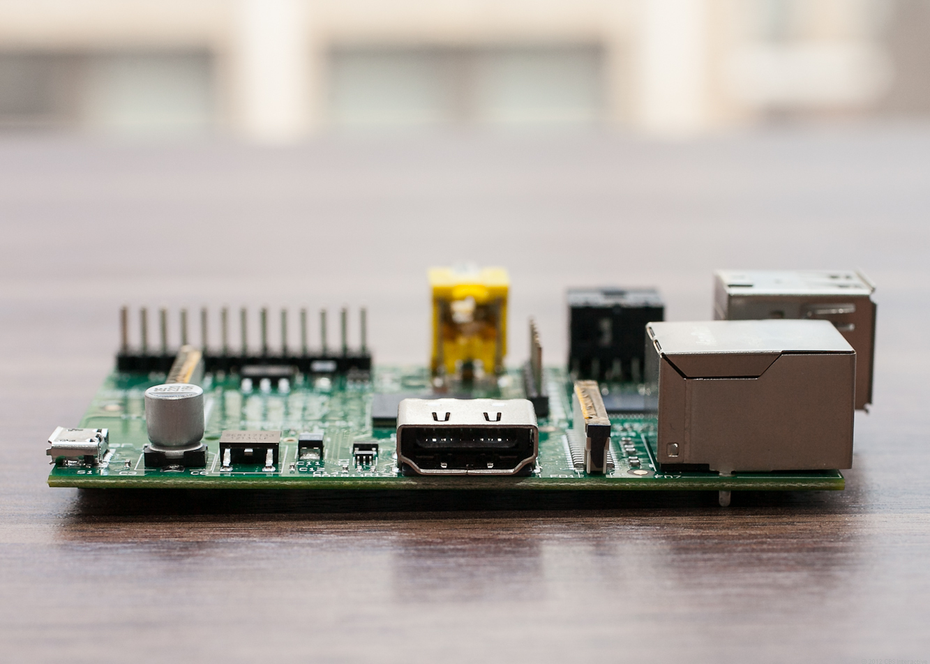 The Raspberry Pi's HDMI port, with the Micro-USB power input on the left edge.