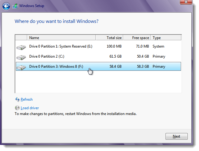 Install Windows 8 to new partition