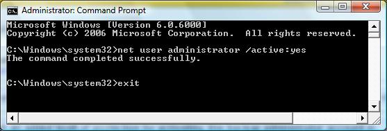 The Command Prompt text used to activate Windows Vista's back-up administrator account