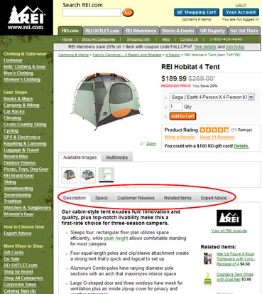 REI tabbed content sections on product detail pages.