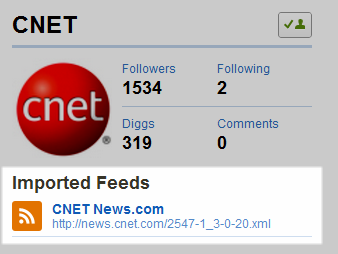 Imported feeds on Digg