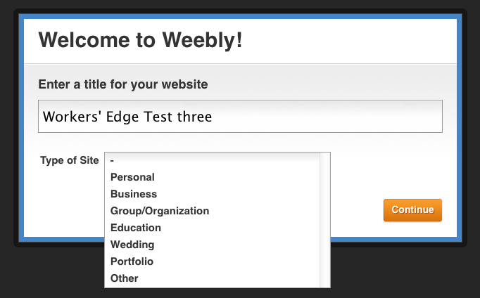 Weebly site-creation service sign-up page