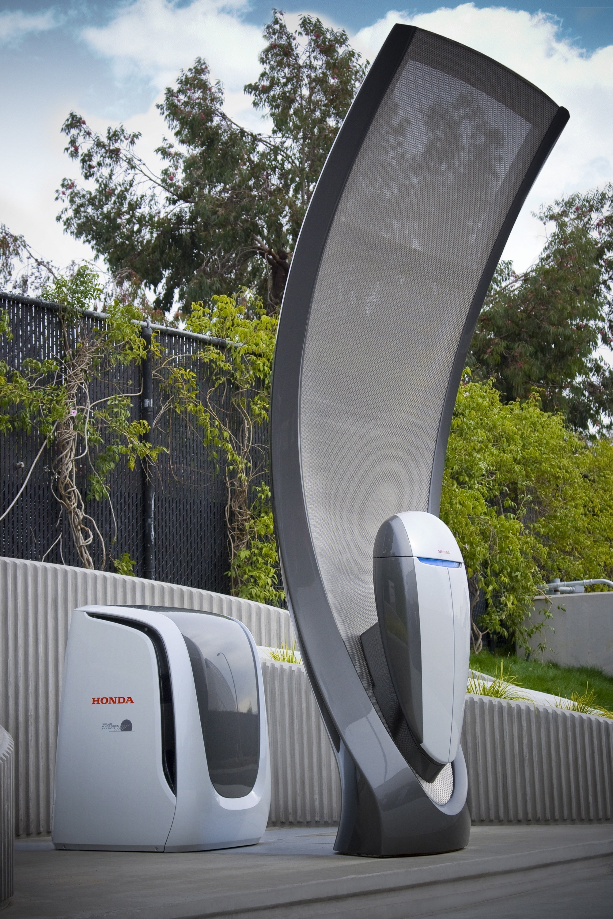 Honda's next generation home solar refueling system can refill a fuel cell electric vehicles overnight.
