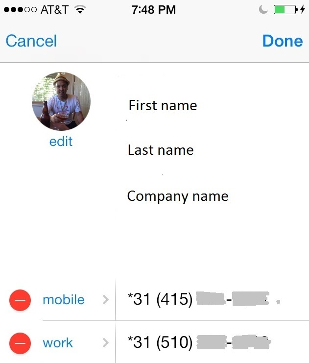 iPhone contact number with caller-ID-unblock prefix