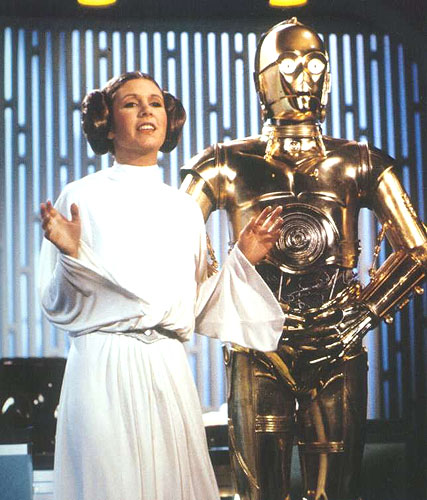 """Princess Leia (Carrie Fisher) and C-3PO (Anthony Daniels) are comfortably numb in """"The Star Wars Holiday Special."""""""