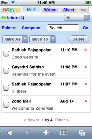 Zoho Mail, out of private beta testing, works on the Apple iPhone.