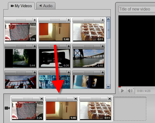 Dragging clips in the YouTube editor