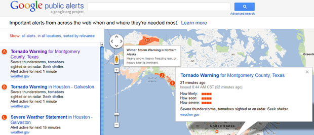 Google's new Public Alerts page now offers information on emergencies around the world.