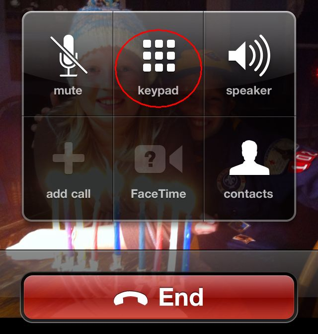 Tap the Keypad button while on a call to access a numeric keypad.