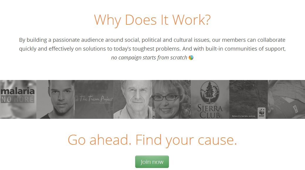 Causes community-based fundraising site